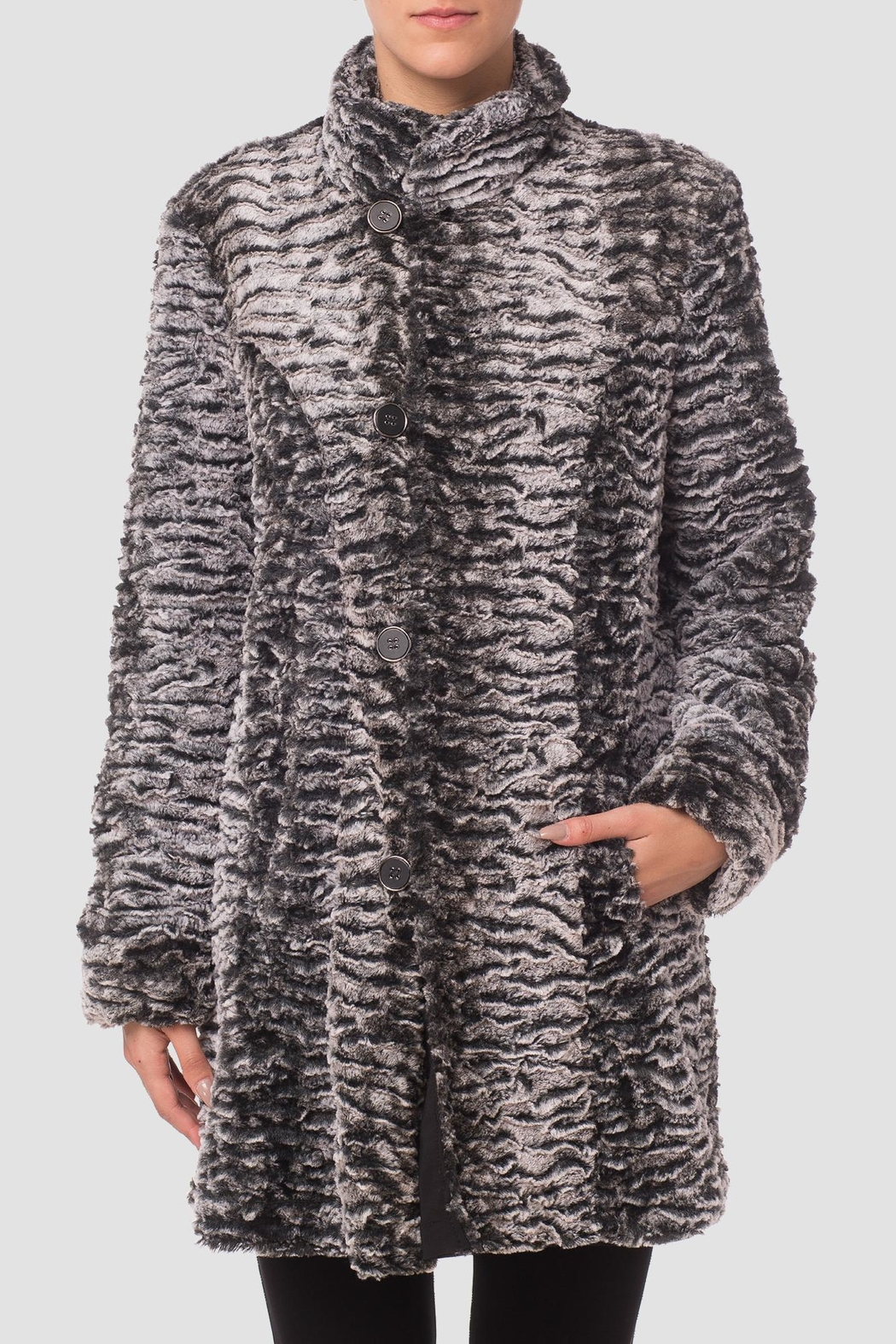 Joseph Ribkoff Faux Fur Coat - Front Cropped Image