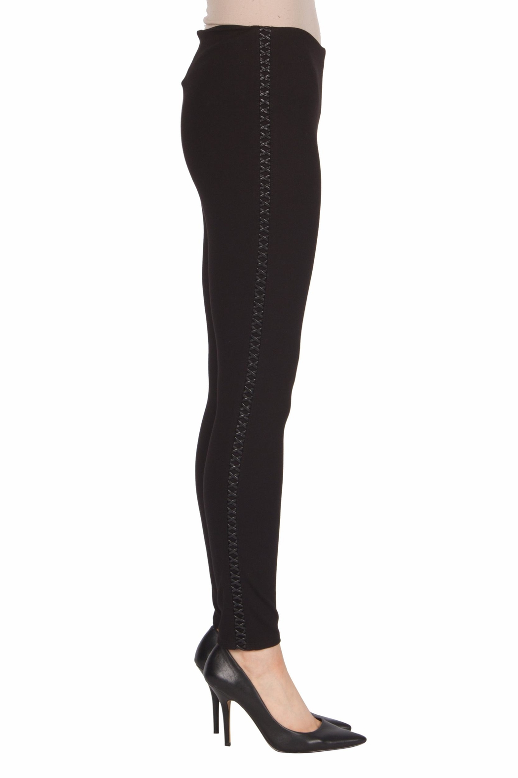 Joseph Ribkoff Faux-Leather Trimmed Pant - Front Full Image