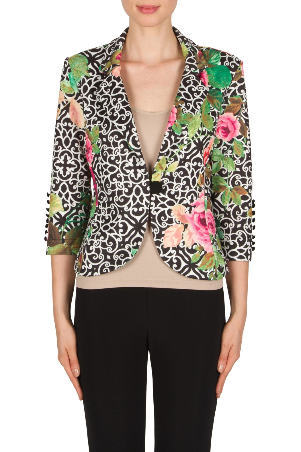 Joseph Ribkoff Filagree Floral Jacket - Front Cropped Image