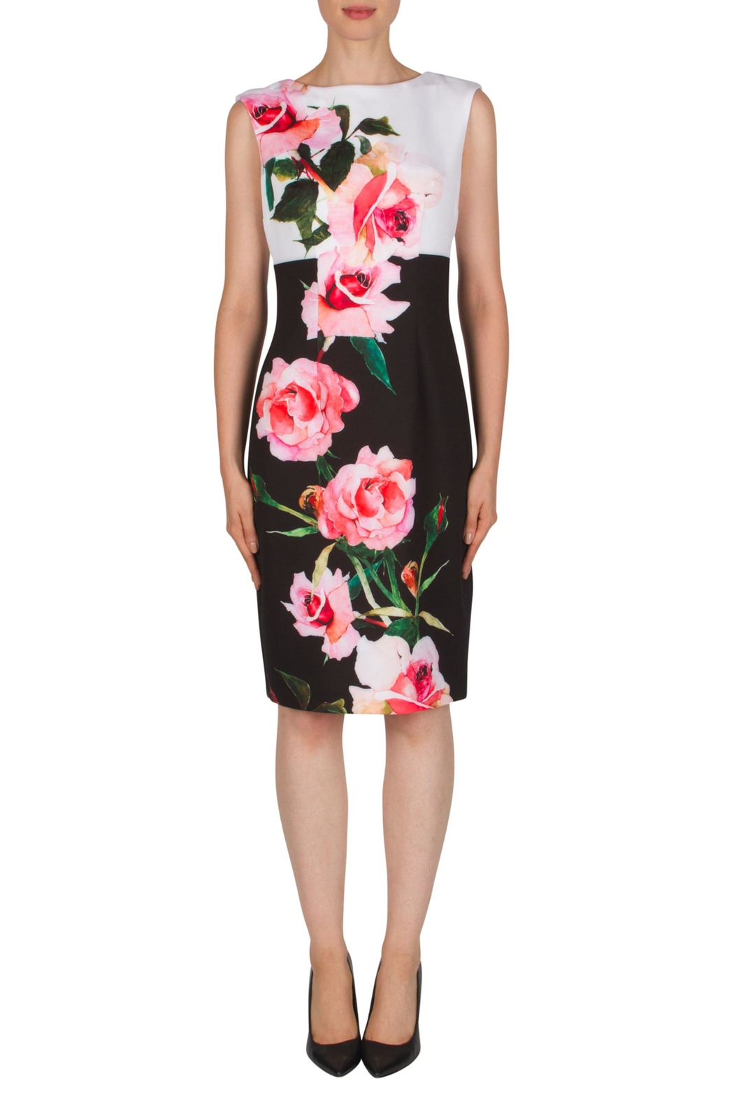 Joseph Ribkoff Floral Back-Zip Dress - Front Cropped Image