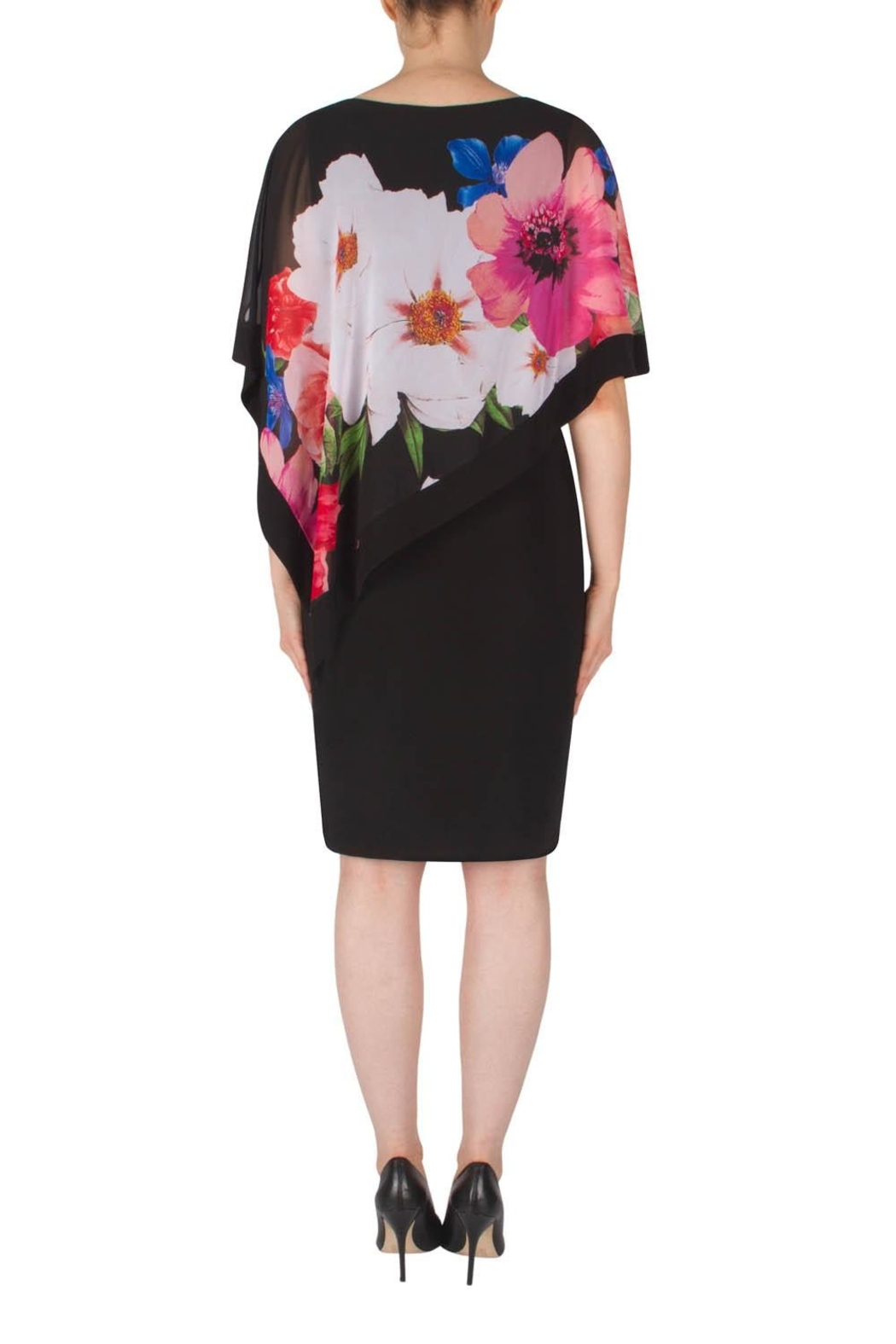 Joseph Ribkoff Floral Overlay Dress - Side Cropped Image