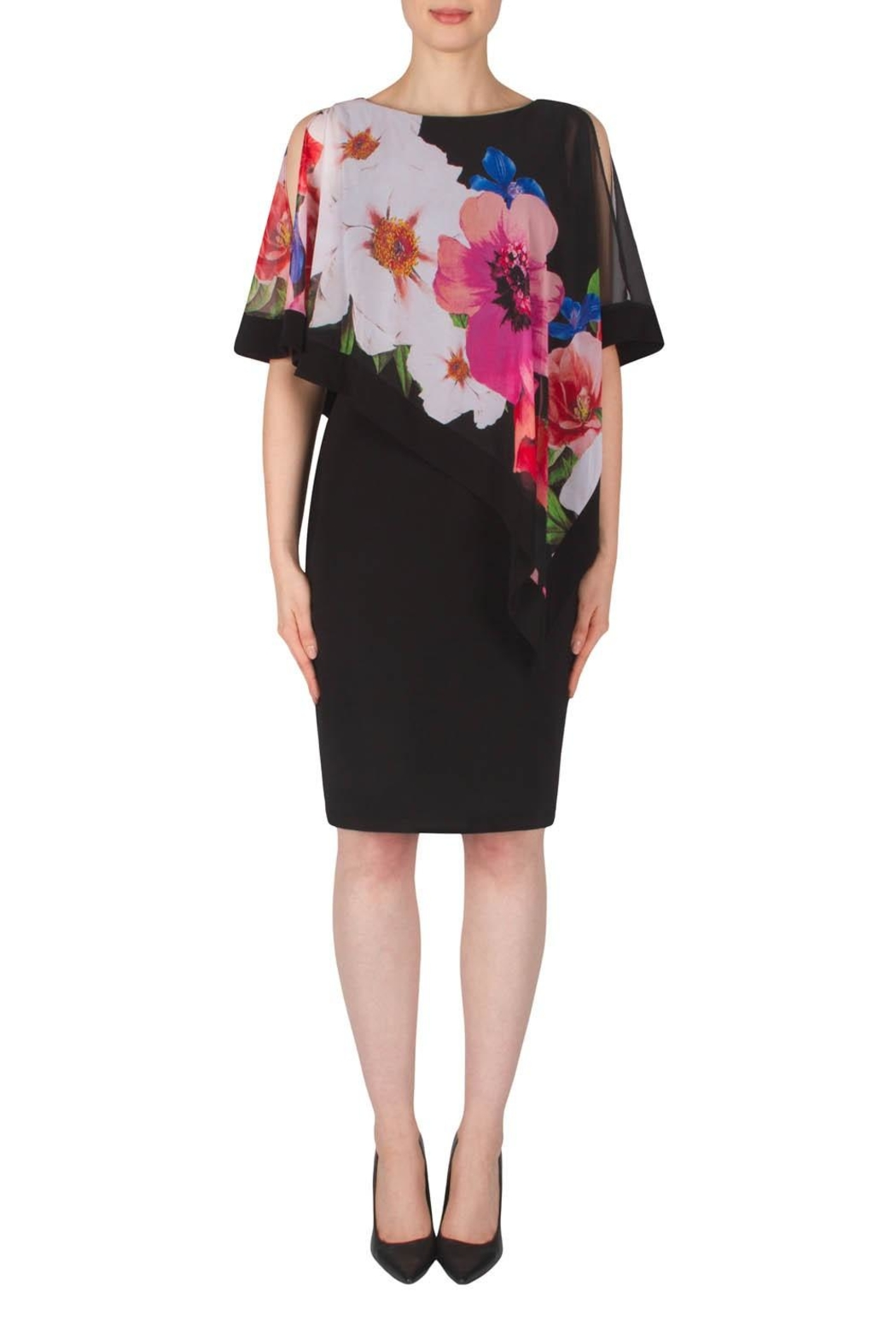Joseph Ribkoff Floral Overlay Dress - Main Image