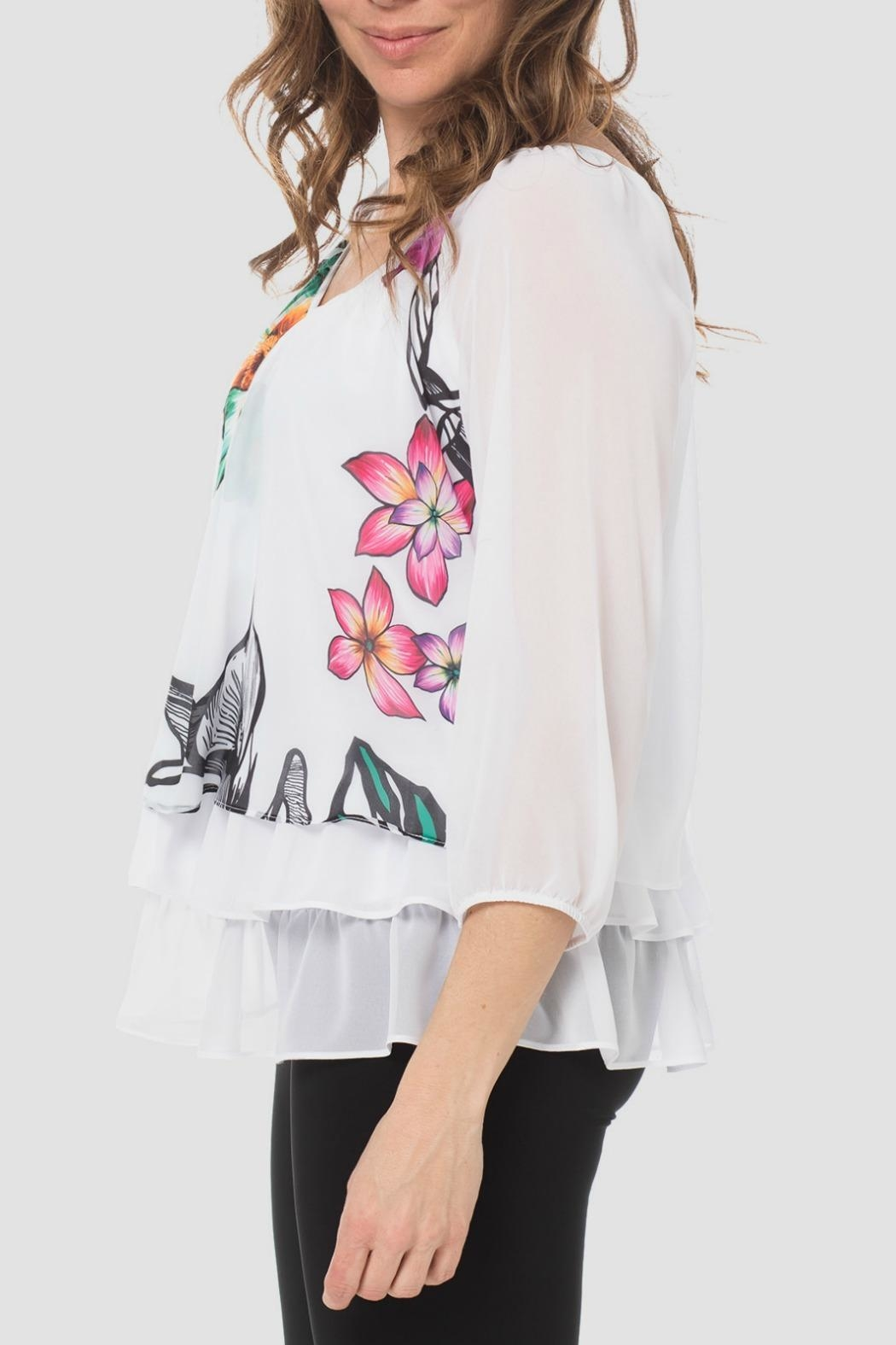 Joseph Ribkoff Floral White Top - Front Full Image