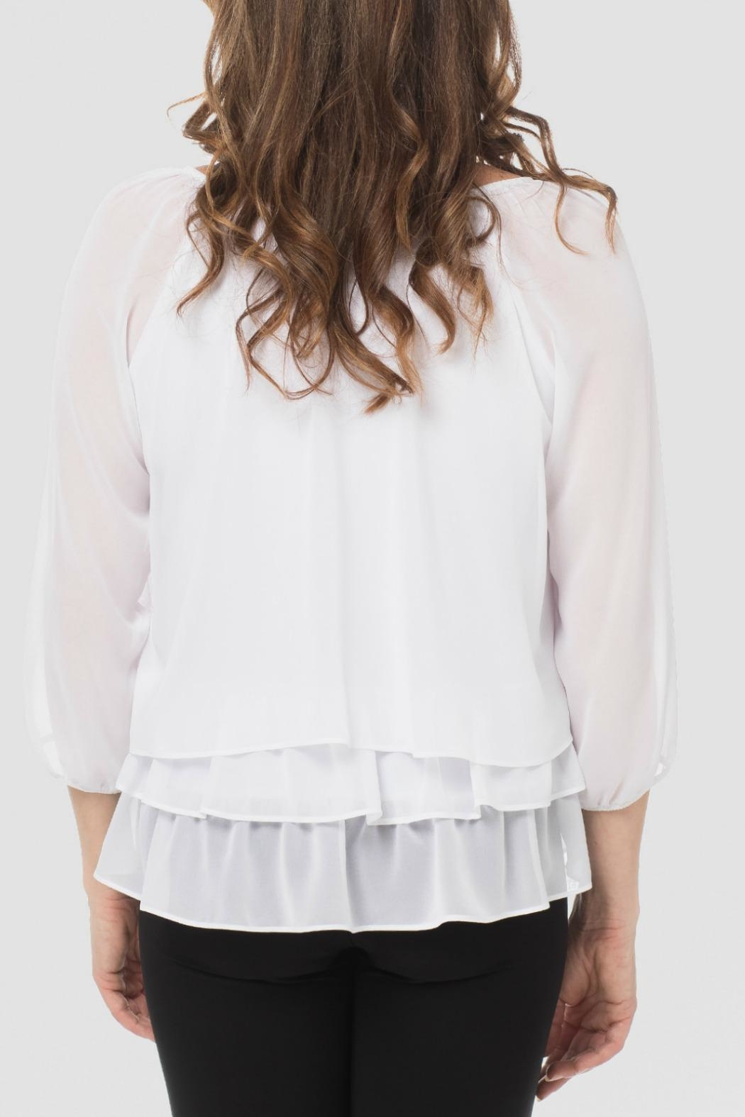 Joseph Ribkoff Floral White Top - Side Cropped Image
