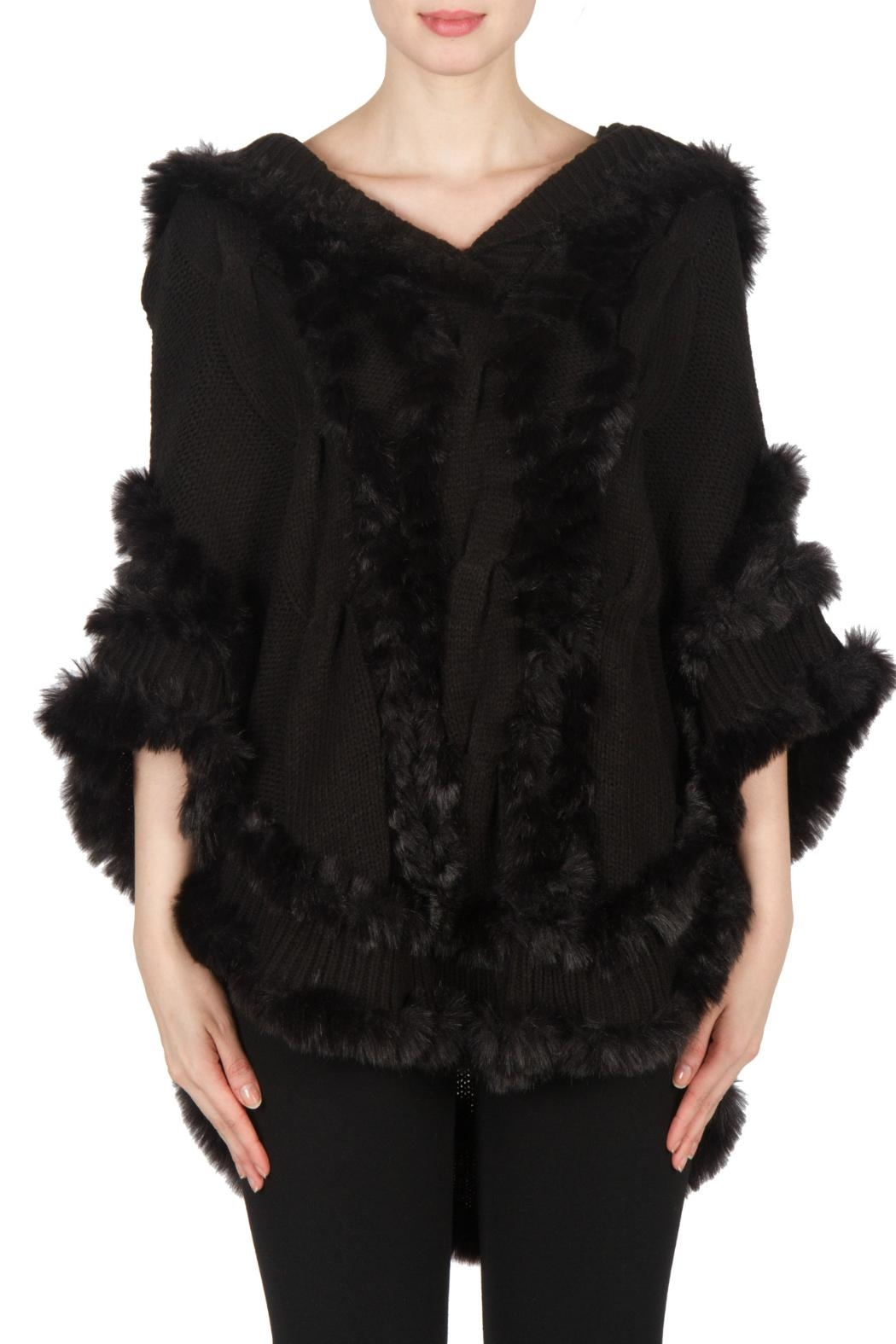 Joseph Ribkoff Fur Knit Poncho - Front Cropped Image