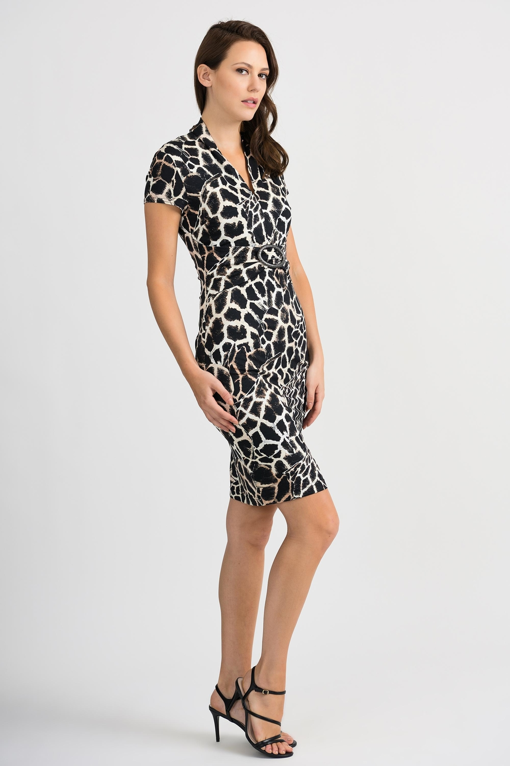 Joseph Ribkoff Giraffe Patterned Dress - Front Full Image