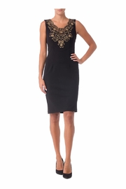 Joseph Ribkoff Black Gold Embellished Dress - Product Mini Image