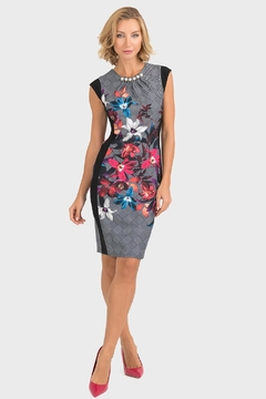 Joseph Ribkoff Houndstooth Floral Dress - Product List Image