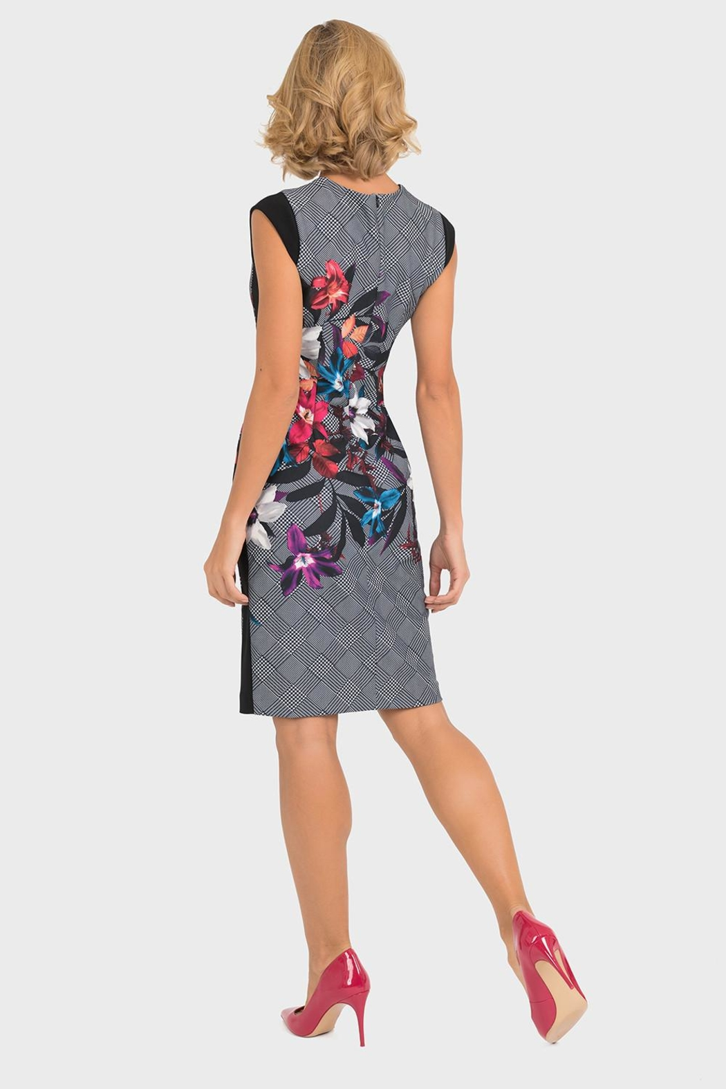 Joseph Ribkoff Houndstooth Floral Dress - Front Full Image