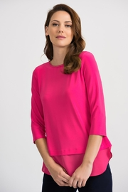 Joseph Ribkoff Hyper Pink Top - Front cropped