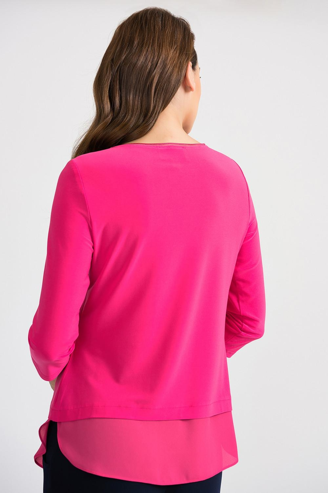 Joseph Ribkoff Hyper Pink Top - Side Cropped Image