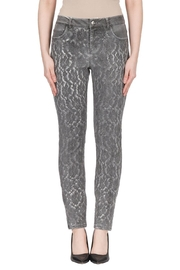 Joseph Ribkoff Grey Lace Jean - Front cropped