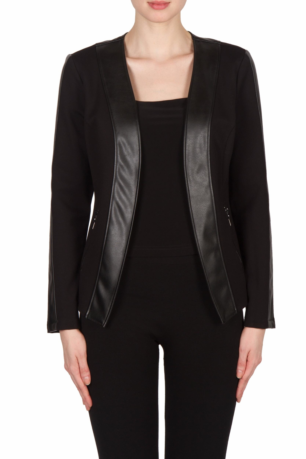 Joseph Ribkoff Leatherette Trimmed Jacket - Front Cropped Image