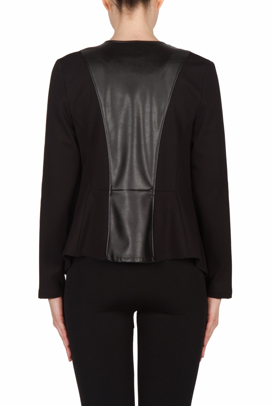 Joseph Ribkoff Leatherette Trimmed Jacket - Side Cropped Image