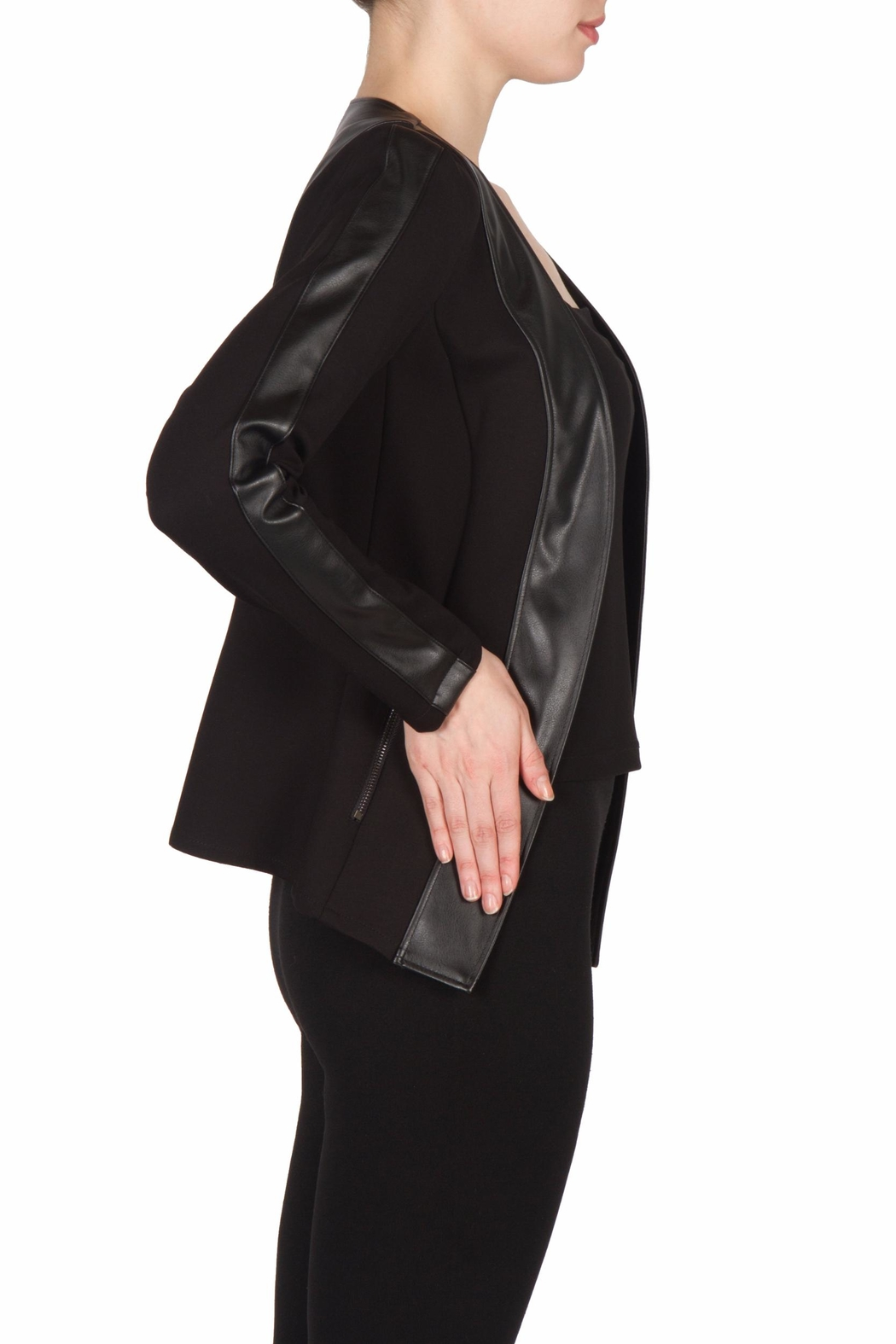 Joseph Ribkoff Leatherette Trimmed Jacket - Front Full Image