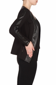 Joseph Ribkoff Leatherette Trimmed Jacket - Front full body
