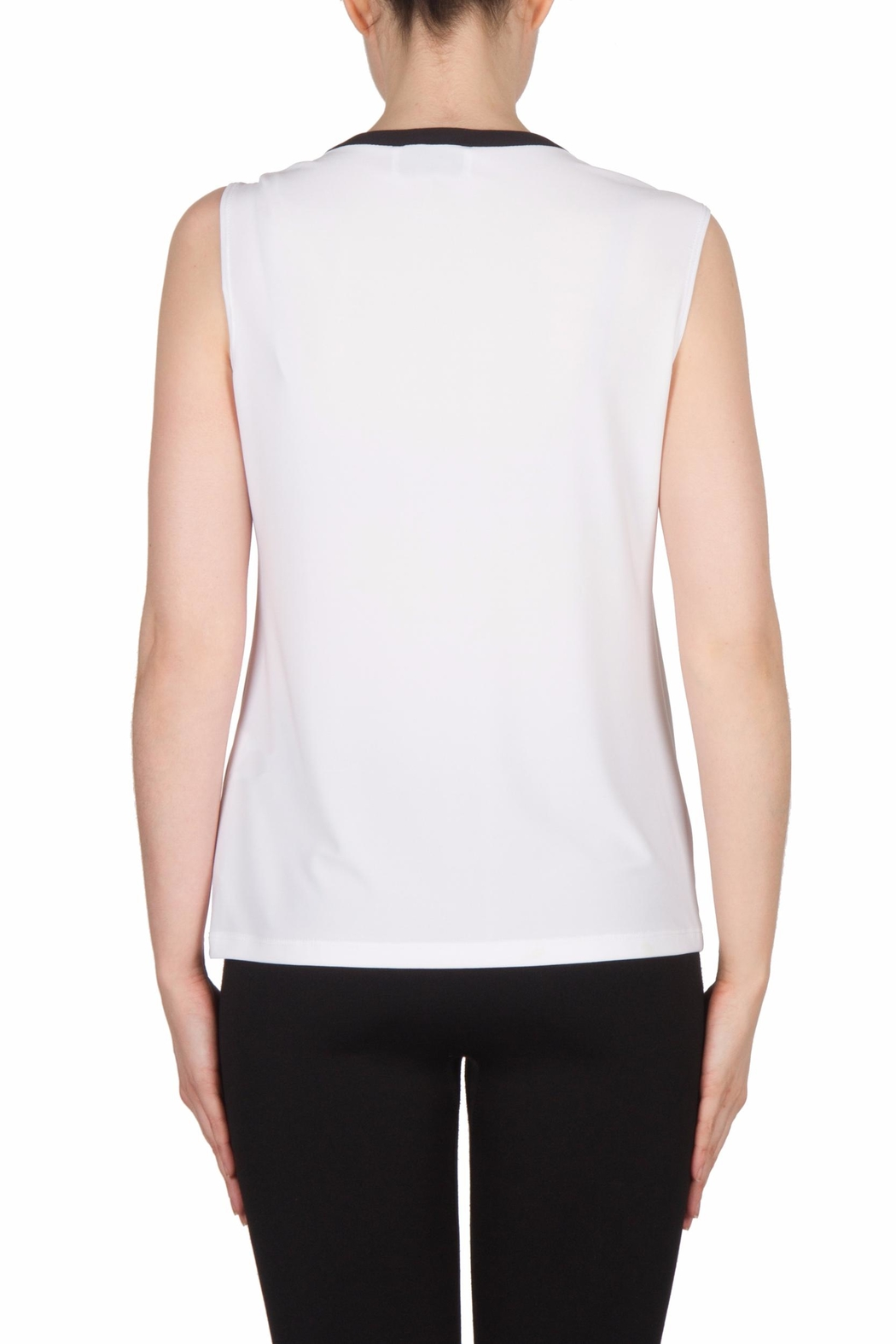 Joseph Ribkoff Leatherette Trimmed Top - Side Cropped Image