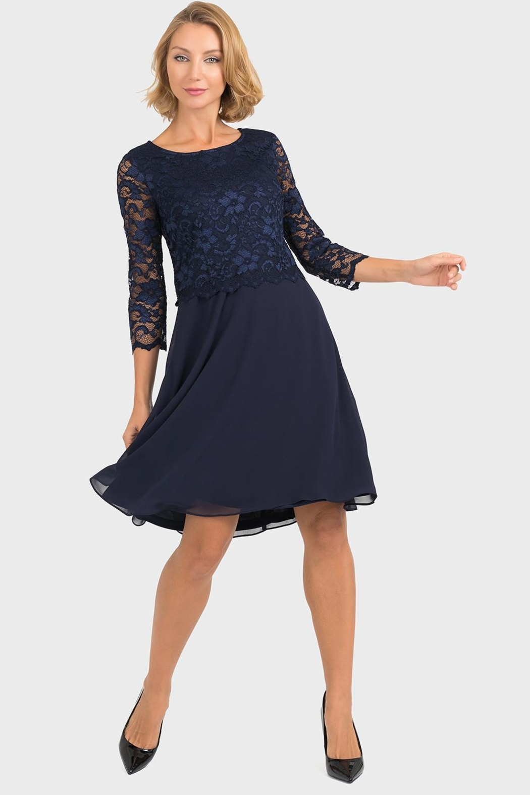 Joseph Ribkoff Marie Lace-Top Dress - Front Cropped Image