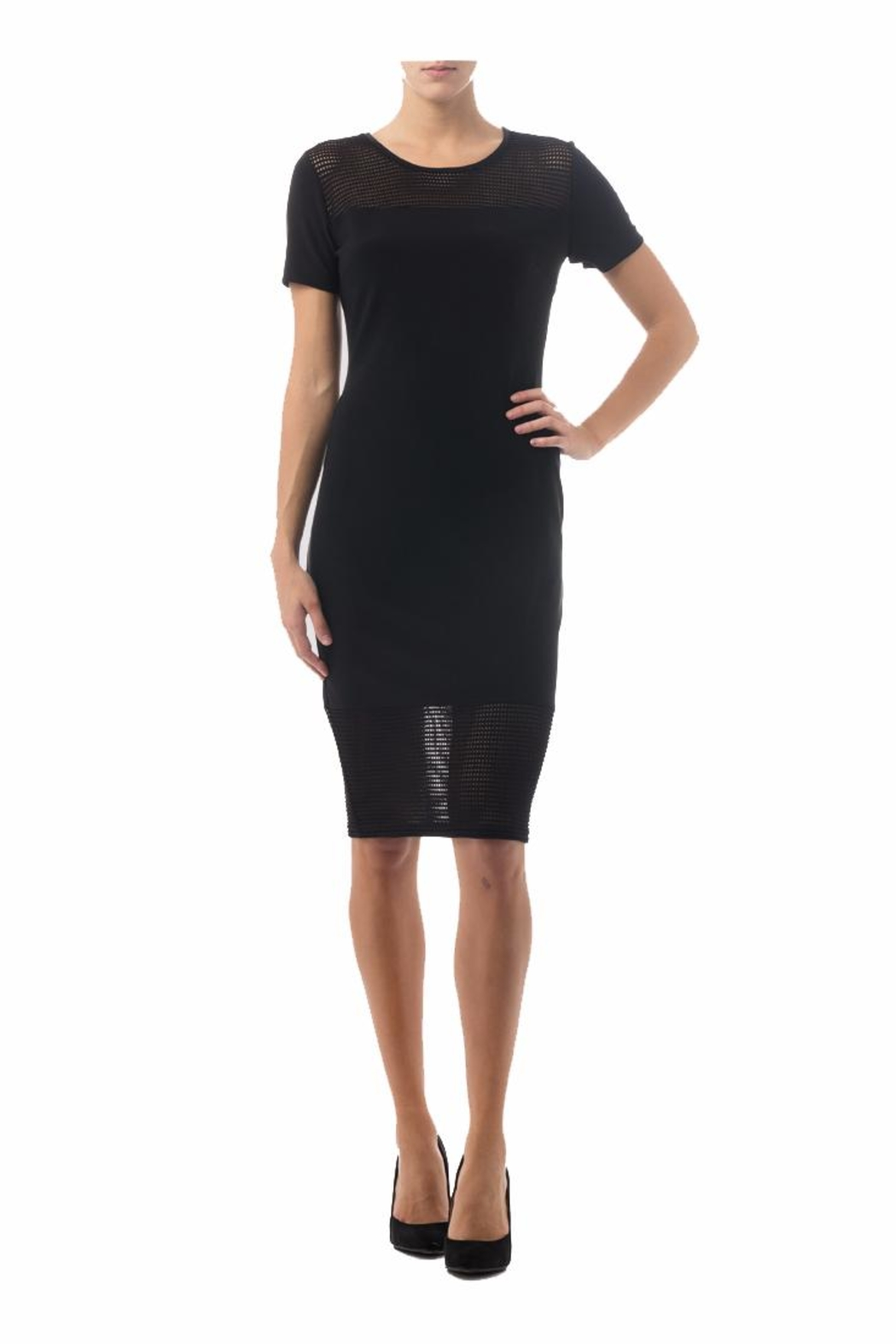 Joseph Ribkoff Mesh Detail Black Dress - Main Image