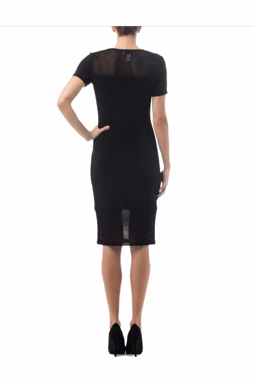 Joseph Ribkoff Mesh Detail Black Dress - Front Full Image