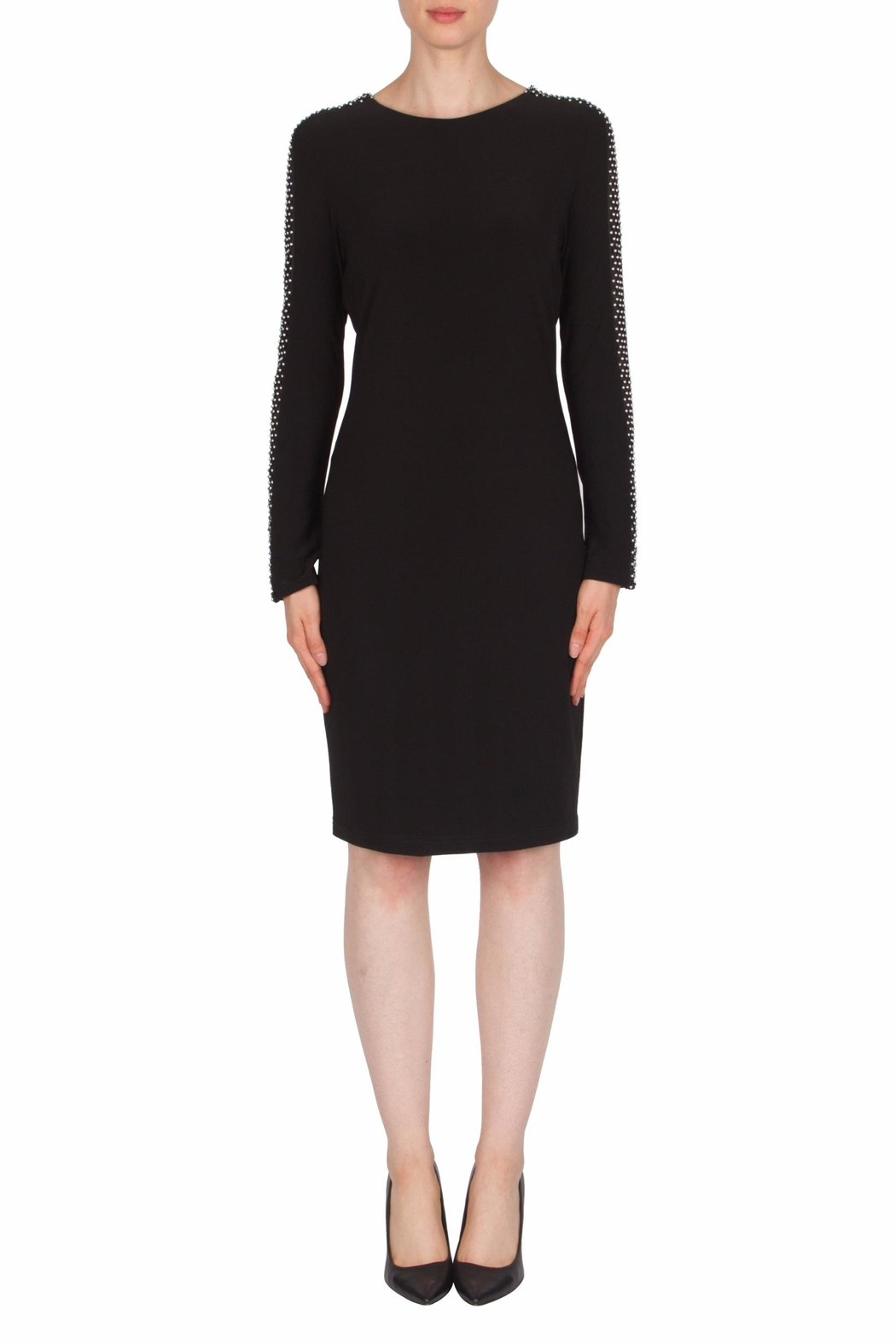 Joseph Ribkoff Mesh Sleeve Detail Dress - Front Cropped Image
