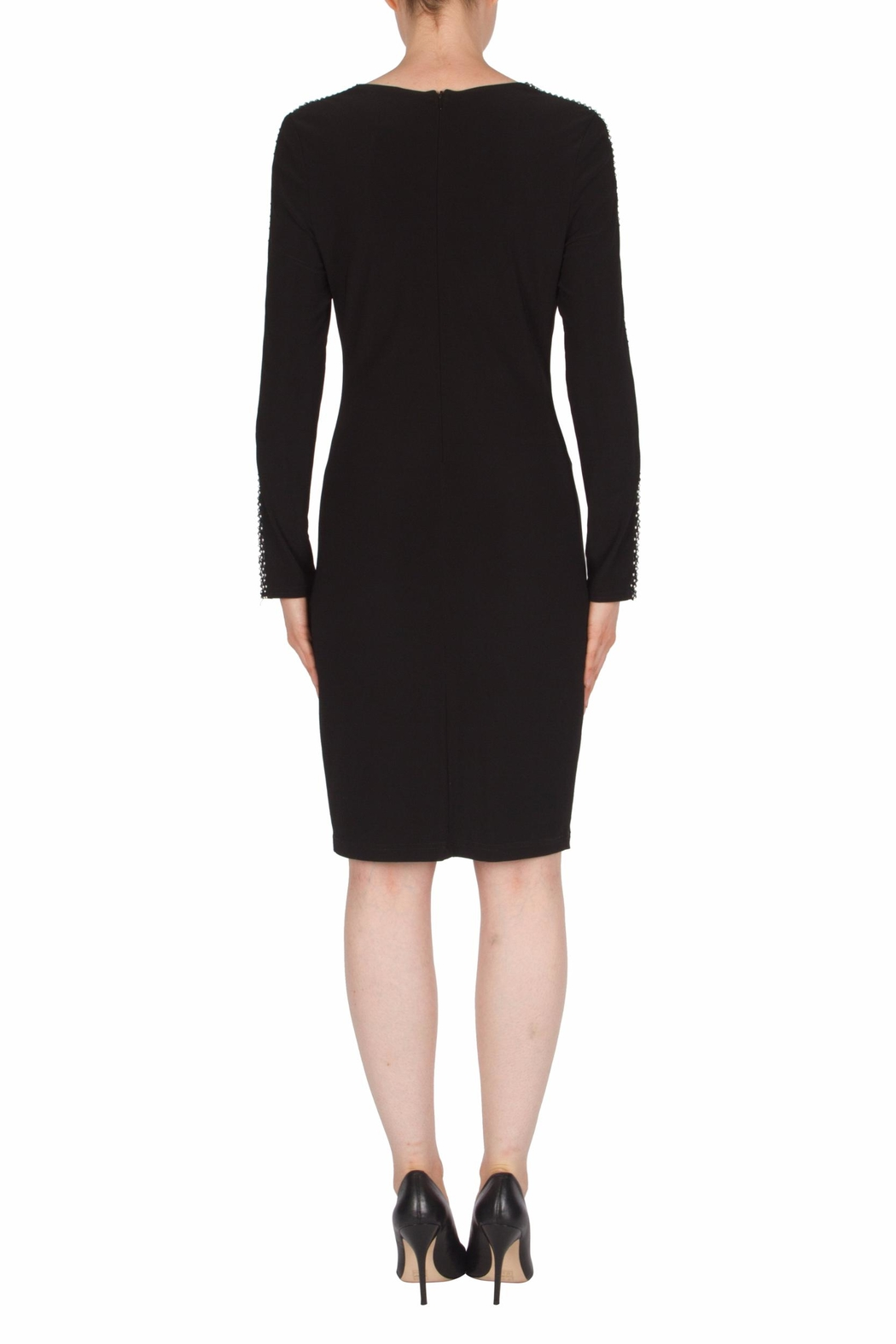 Joseph Ribkoff Mesh Sleeve Detail Dress - Side Cropped Image