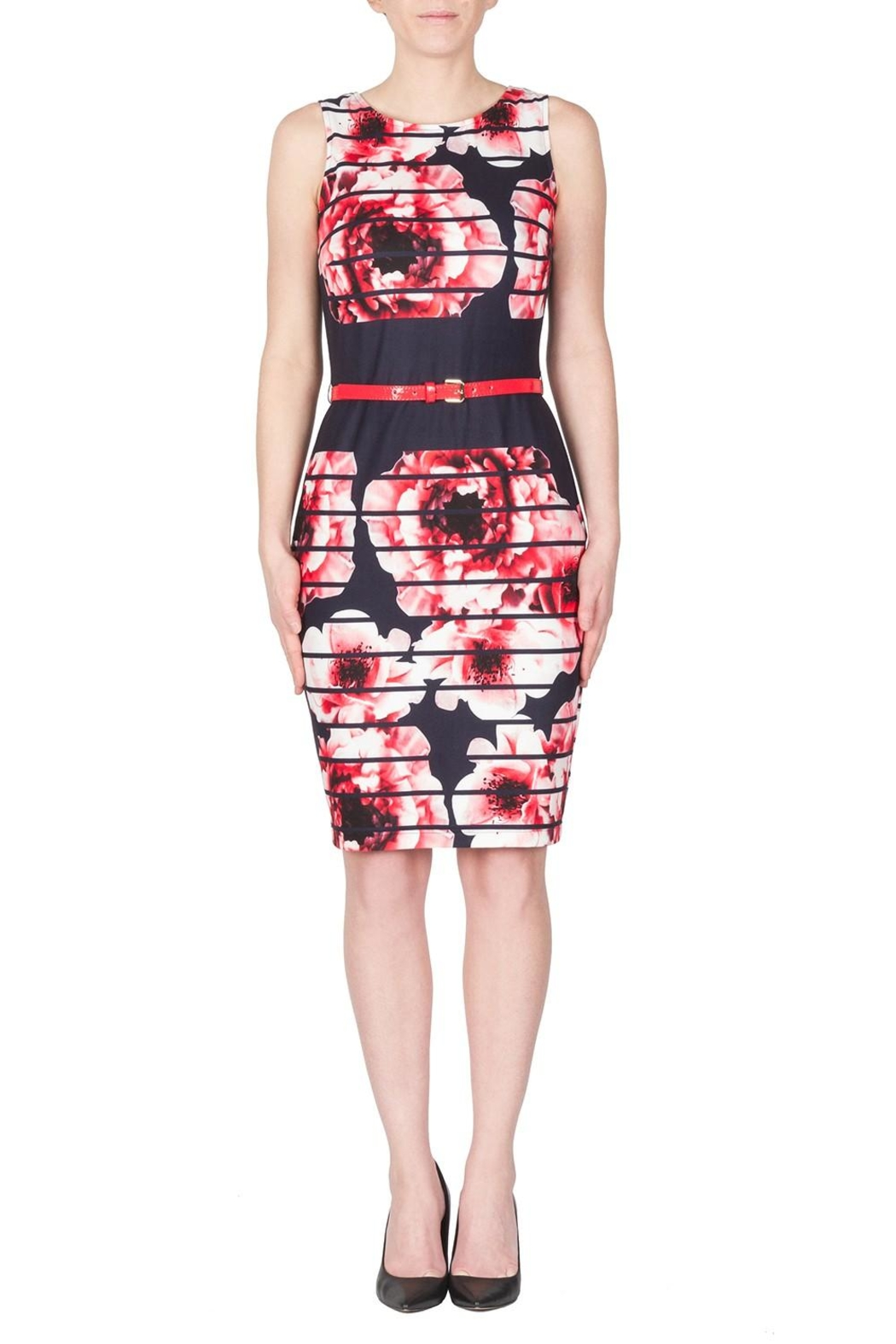 Joseph Ribkoff Modern Floral Dress - Front Cropped Image