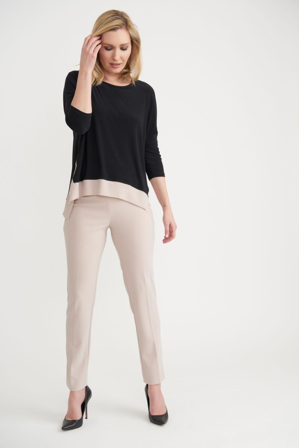 Joseph Ribkoff Molly Two-Tone Top - Side Cropped Image