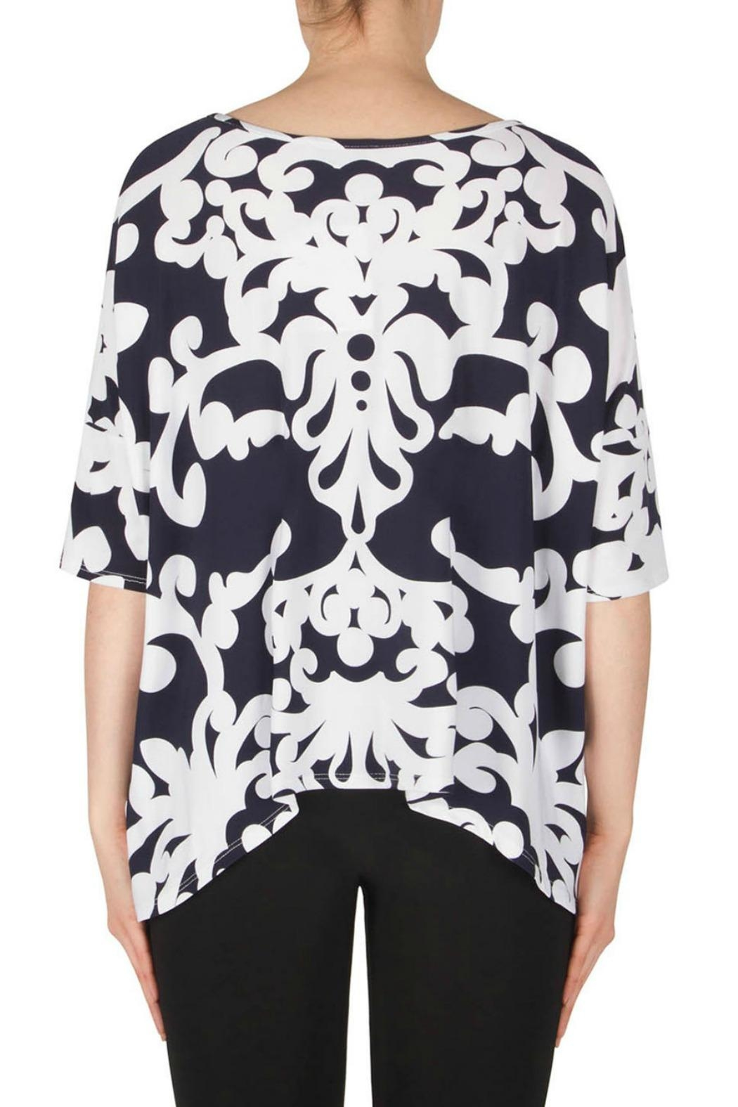 Joseph Ribkoff Navy Scroll Top - Side Cropped Image