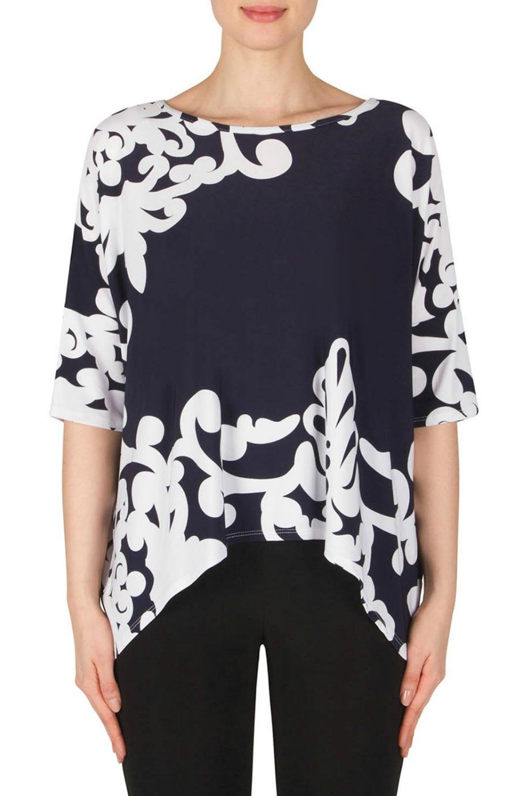Joseph Ribkoff Navy Scroll Top - Front Cropped Image