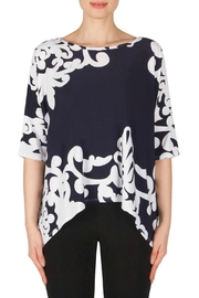 Joseph Ribkoff Navy Scroll Top - Front cropped