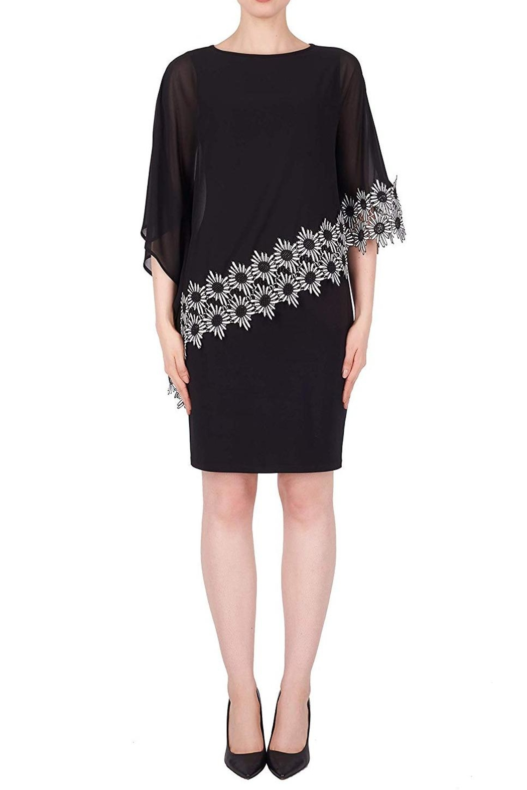 Joseph Ribkoff Black Scarf Dress - Front Cropped Image