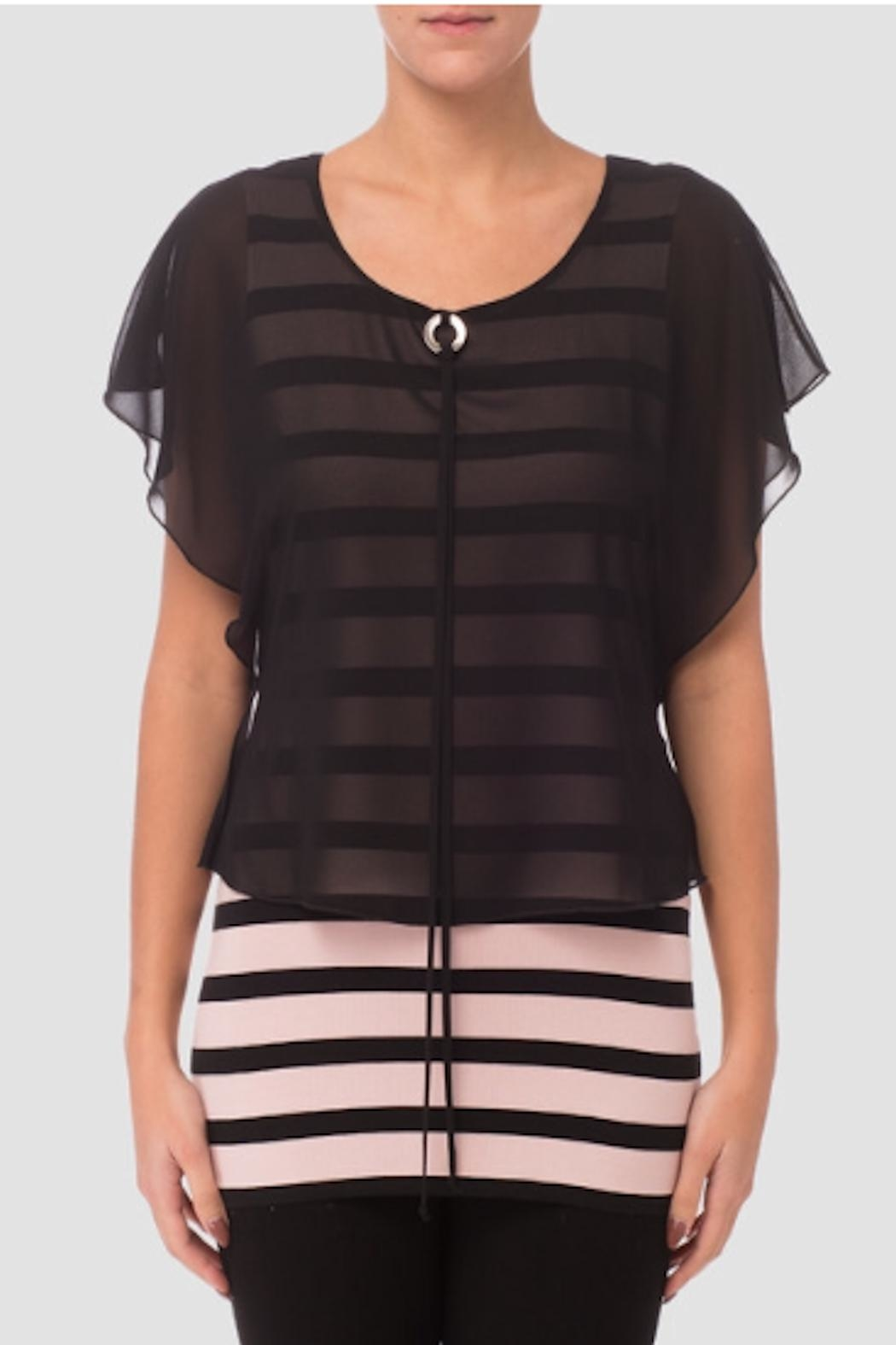 Joseph Ribkoff Pink/black Top - Front Cropped Image