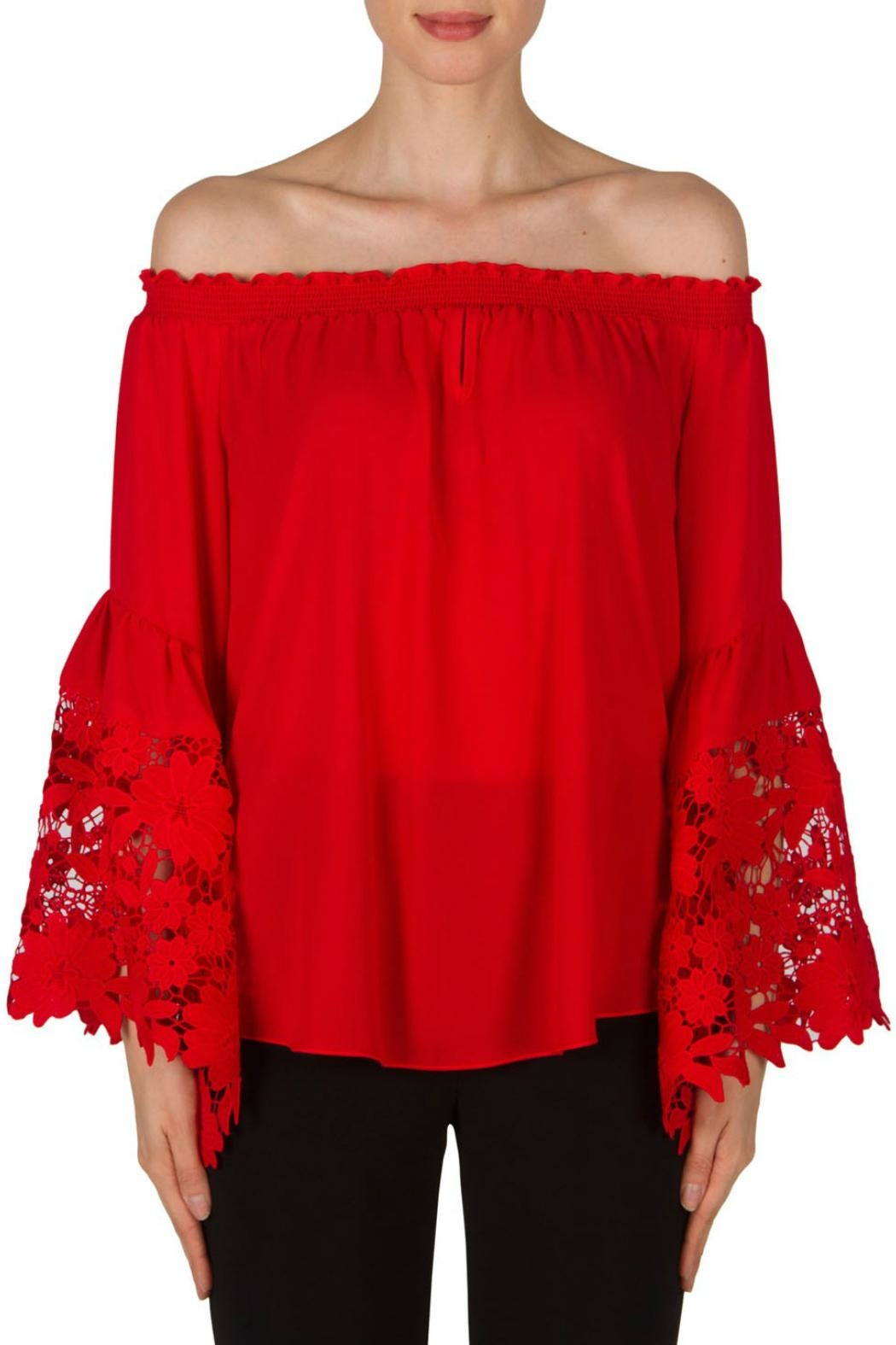 Joseph Ribkoff Red Bell Sleeve - Front Cropped Image