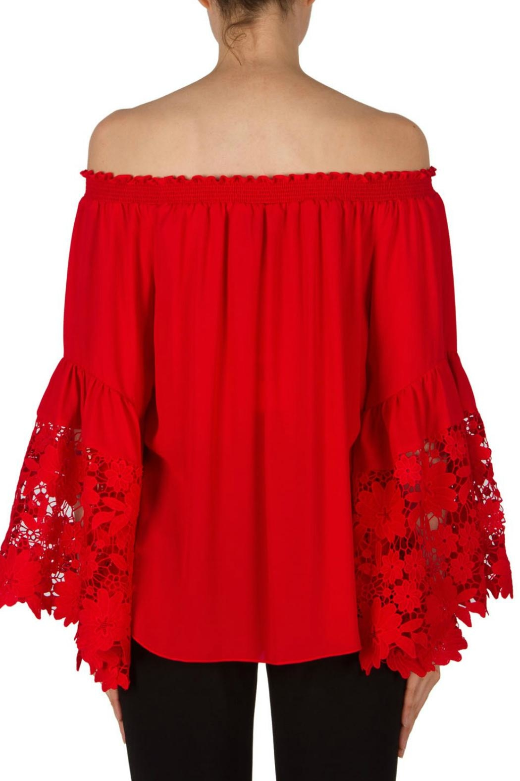 Joseph Ribkoff Red Bell Sleeve - Front Full Image