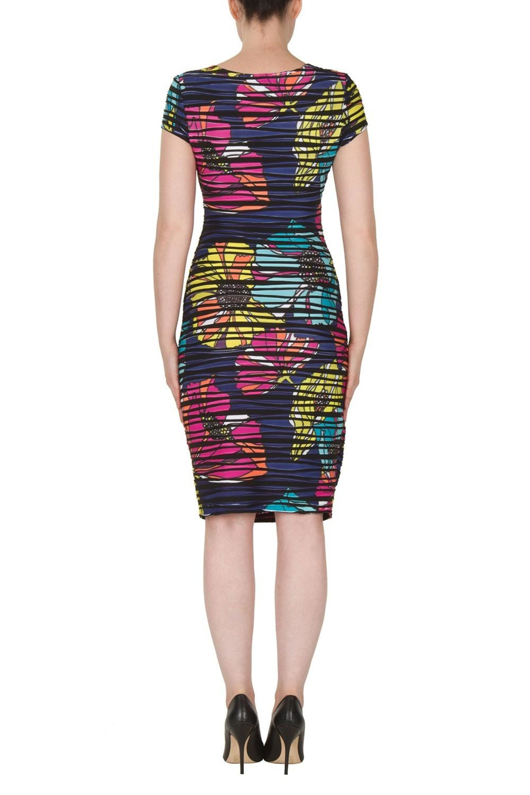 Joseph Ribkoff Faux Wrap Print Dress - Side Cropped Image