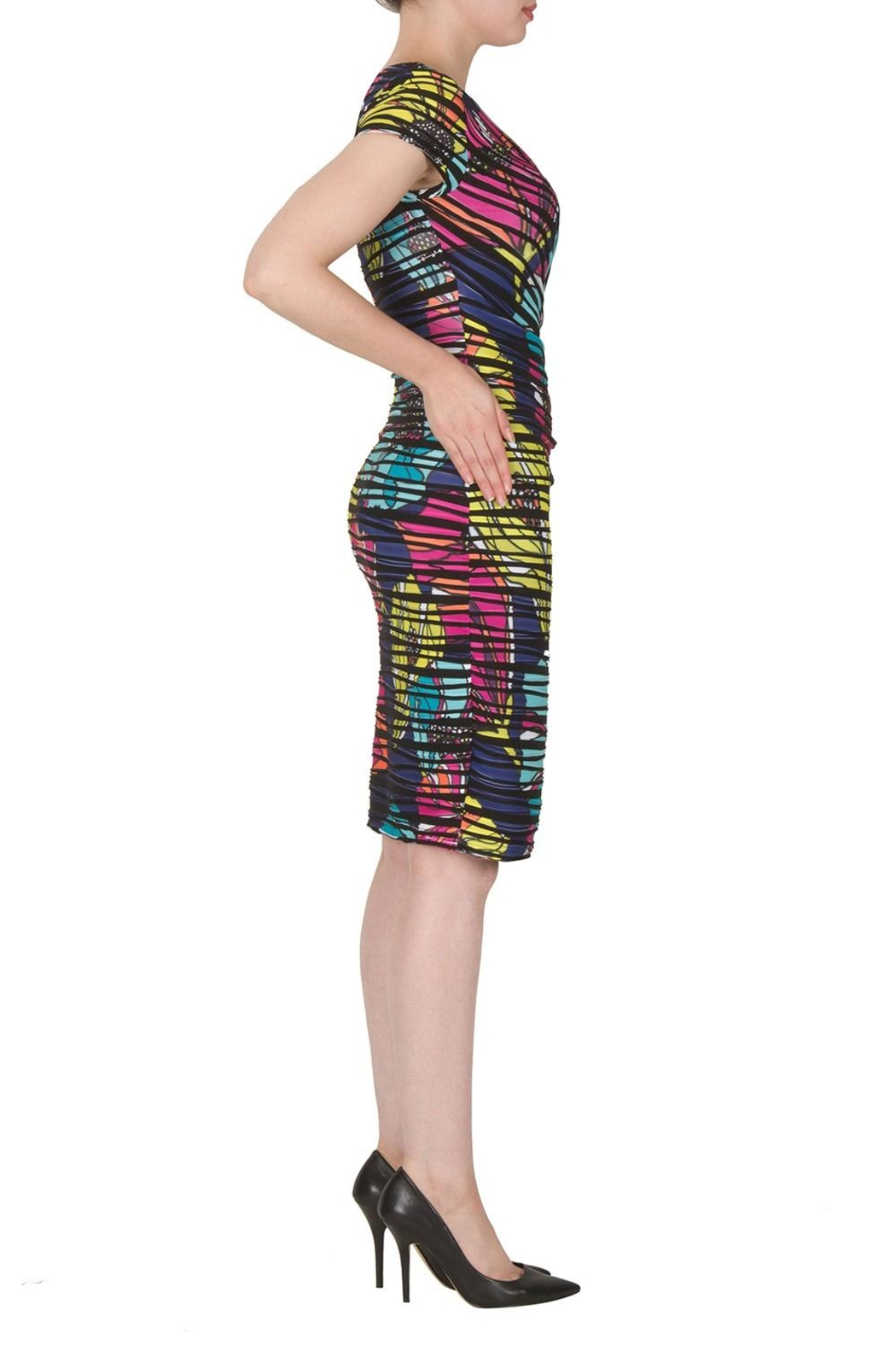 Joseph Ribkoff Faux Wrap Print Dress - Front Full Image