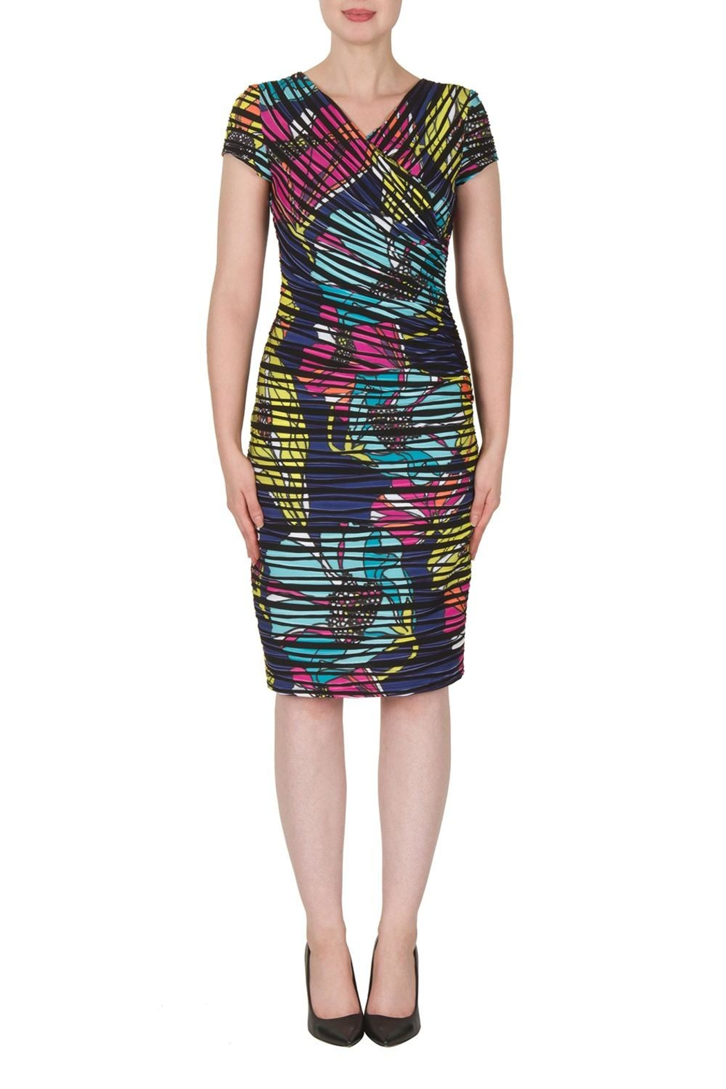Joseph Ribkoff Faux Wrap Print Dress - Front Cropped Image