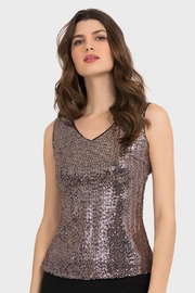Joseph Ribkoff Rosegold Sequin Tank - Front cropped