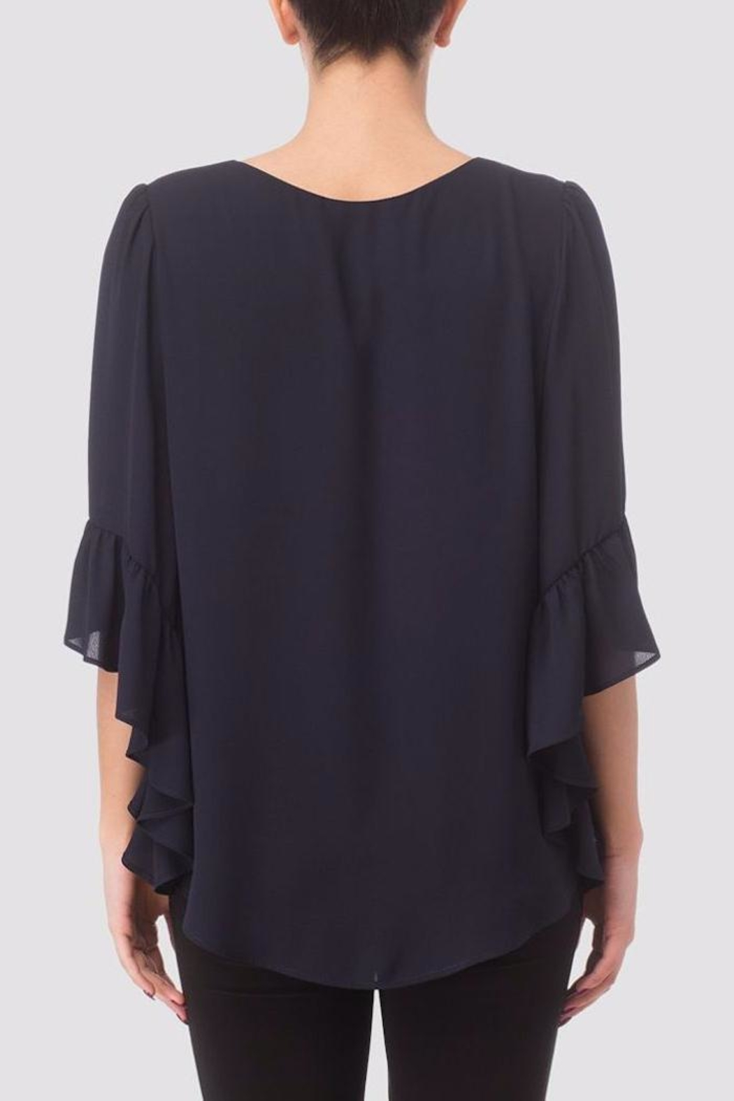 Joseph Ribkoff Ruffle Bell-Sleeve Blouse - Front Full Image