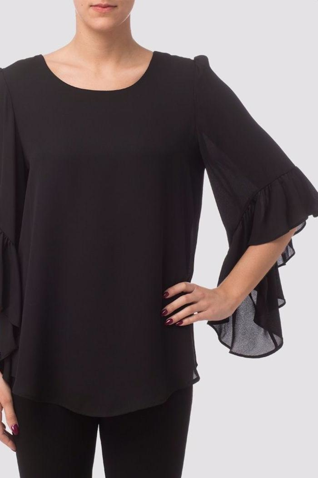 Joseph Ribkoff Ruffle Bell-Sleeve Blouse - Front Cropped Image