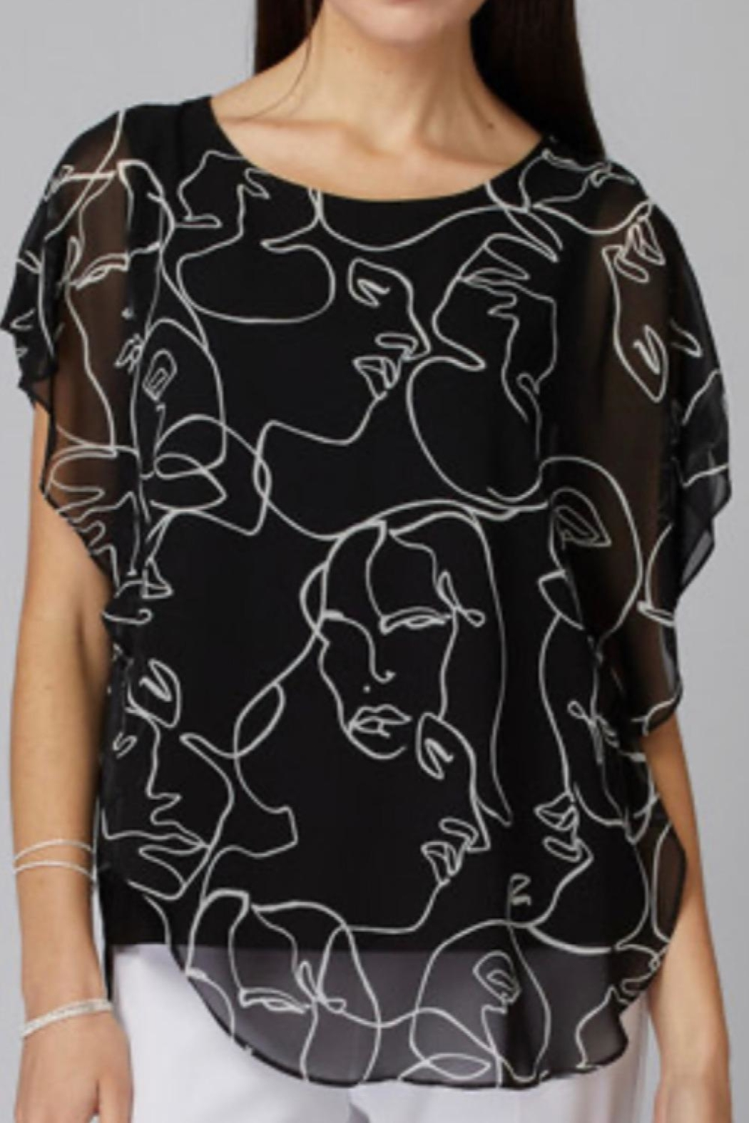 Joseph Ribkoff Sheer Over;lay Faces Tunic - Main Image