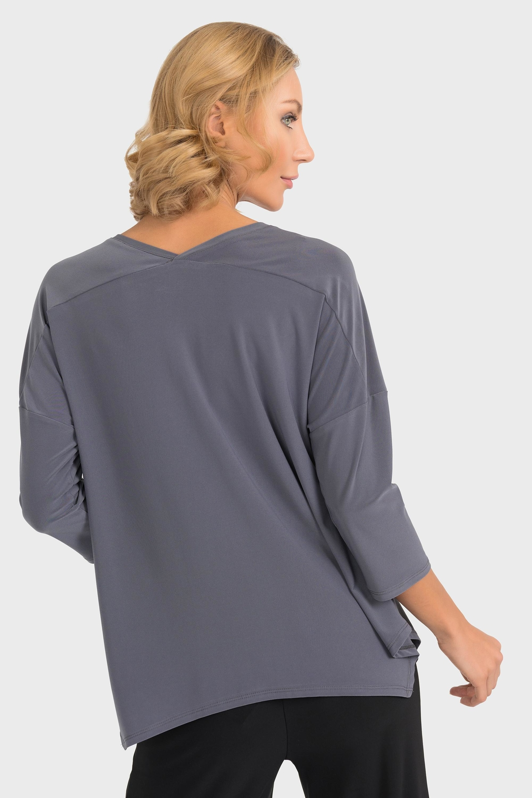 Joseph Ribkoff Smokey Grey Top - Back Cropped Image