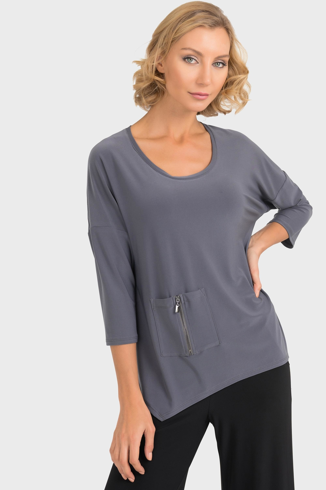 Joseph Ribkoff Smokey Grey Top - Front Full Image