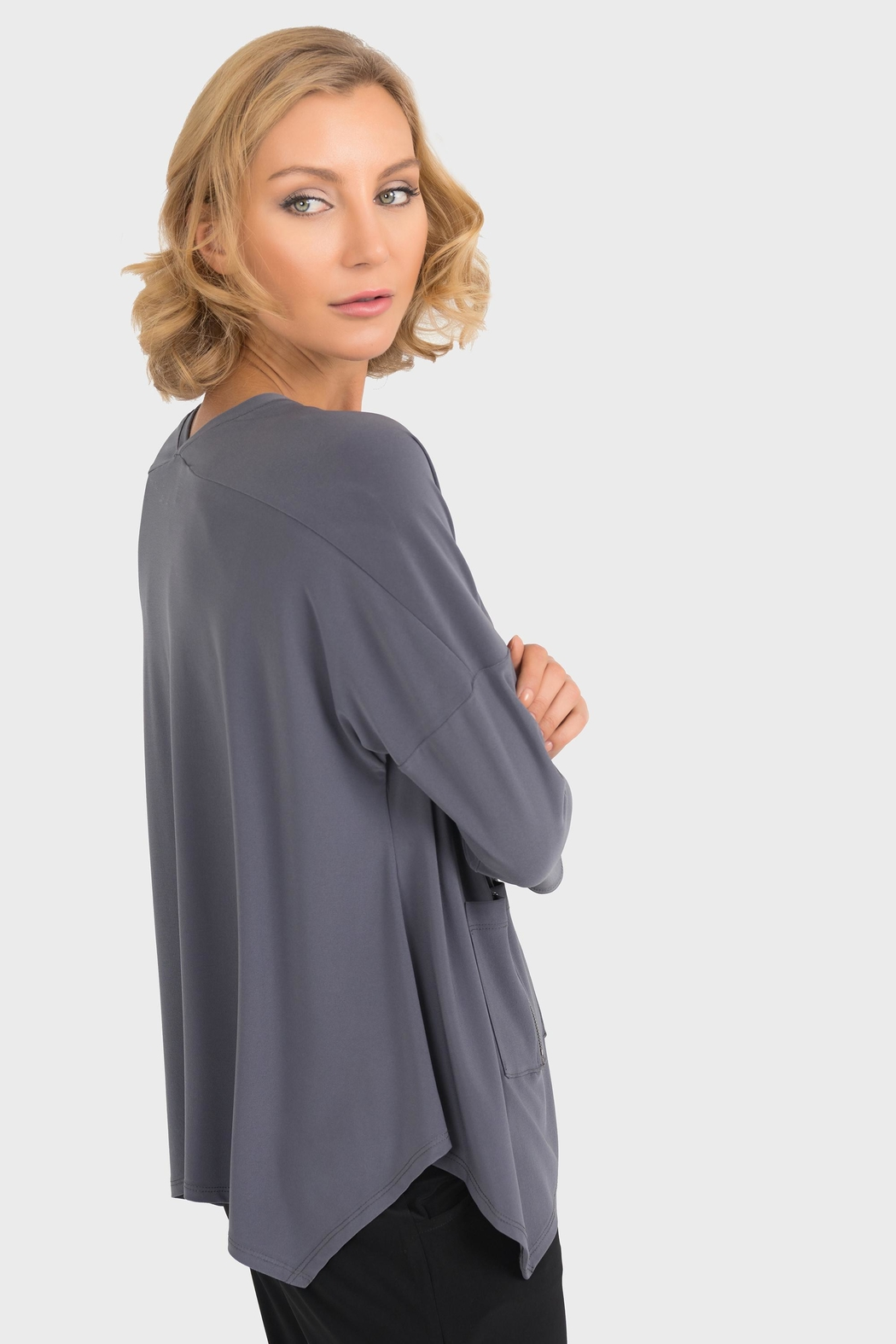 Joseph Ribkoff Smokey Grey Top - Side Cropped Image