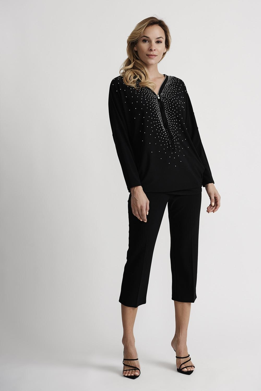 Joseph Ribkoff Starry Zip-Front Top - Back Cropped Image