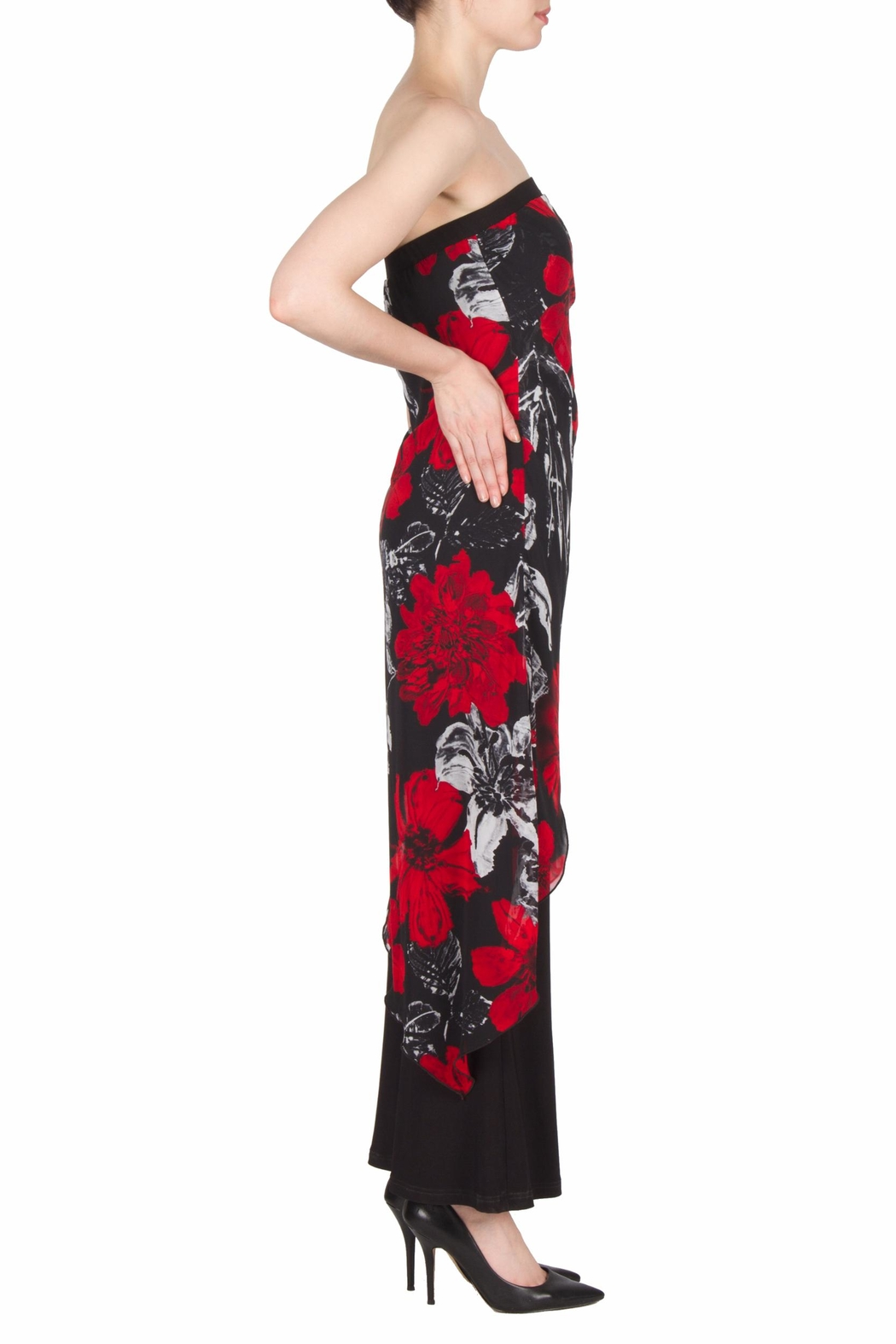 Joseph Ribkoff Strapless Floral Jumpsuit - Side Cropped Image