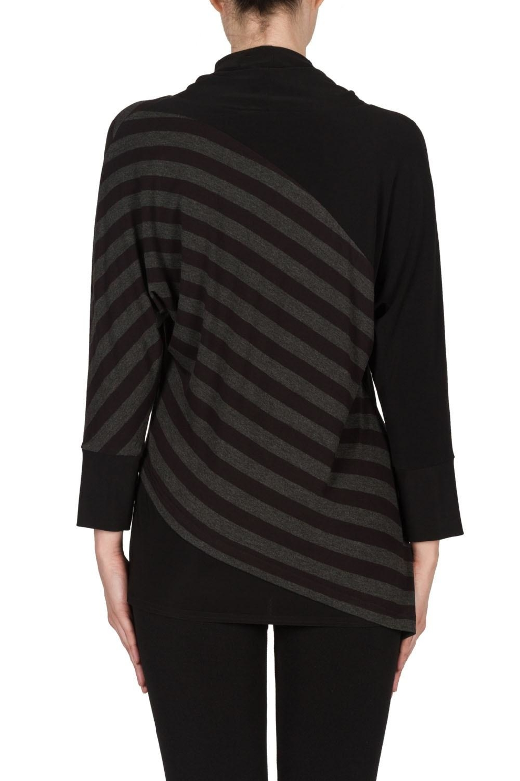 Joseph Ribkoff Striped Cowl Top - Back Cropped Image