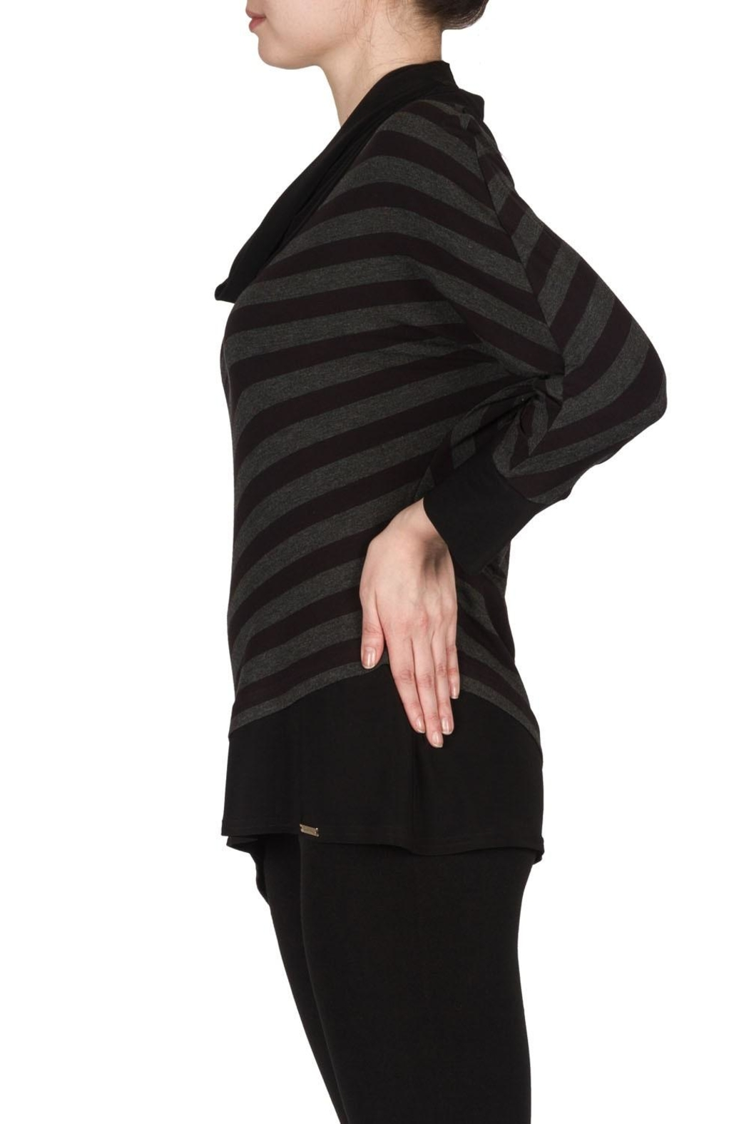 Joseph Ribkoff Striped Cowl Top - Side Cropped Image