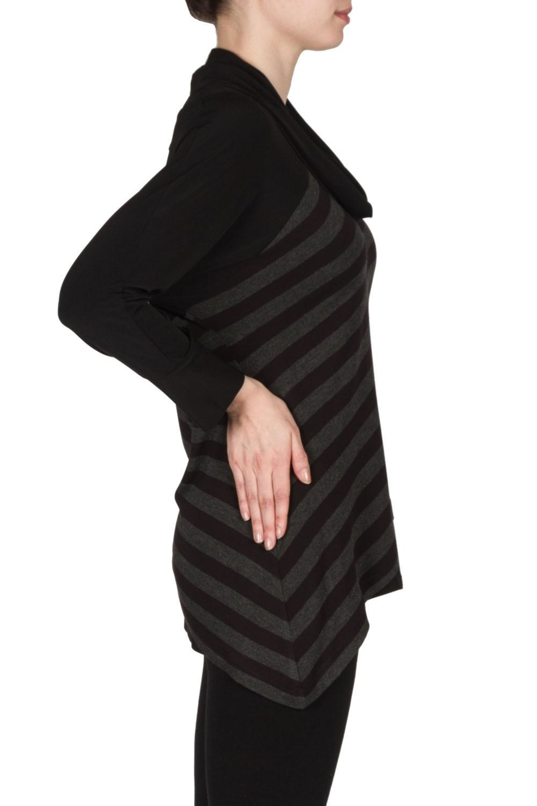 Joseph Ribkoff Striped Cowl Top - Front Full Image